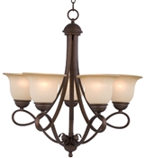 5 Light Antique Bronze Chandelier Indoor Ceiling Fixture