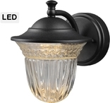Exterior LED Wall Lantern,Crystaline Glass Globe, Black Finish