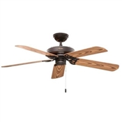 Ceiling Fan, 120 V, 3-Speed, 5-Blade, Plastic, 52 In