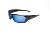 Captain Satin Black Full Frame Sunglasses With Blue Mirror Lens