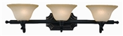 3 Light Dover Indoor Wall Fixture - Oil Rubbed Bronze with Amber Glass