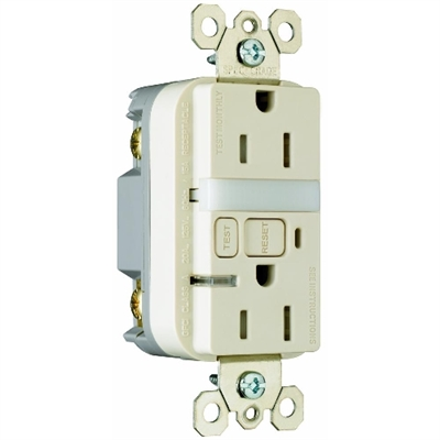 Almond 15 Amp 125 Volt GFCI Receptacle with Night Light
