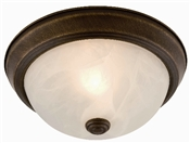 Two Light Flush Ceiling Fixture, Oil Rubbed Bronze