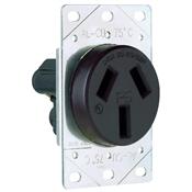 Black 50 Amp 125/250 Volt Flush Mount 3 Wire Range Outlet