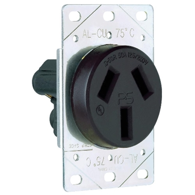 Shop Black 50 Amp 125 250 Volt Flush Mount 3 Wire Range