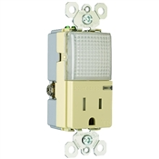 Ivory 15 Amp 125 Volt Tamper Resistant Receptacle with Hall Way Light
