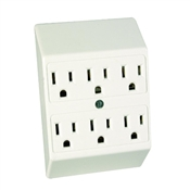 White 15 Amp 3 Wire 6 Plug-In Adapter