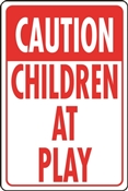 HY-KO HW-7 Traffic Sign, Rectangular, CHILDREN AT PLAY, Red Legend, White Background