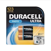Duracell Ultra123 2Pk Lithium Battery, 3 V, Manganese Dioxide