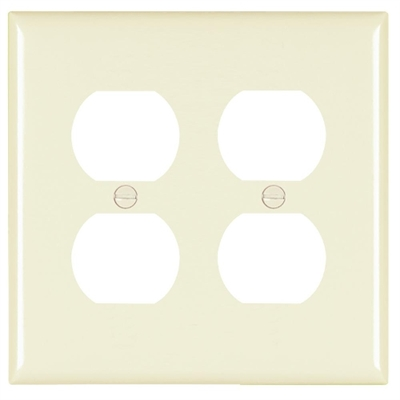 Almond Nylon 2 Gang Receptacle Plate