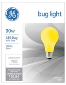 90 Watt A19 Yellow Bug Light Bulb 2 Pack