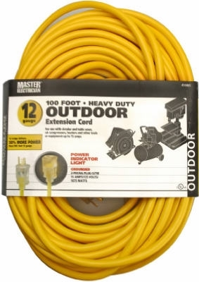 12/3 SJTW Extension Cord Yellow 100'
