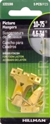 Hillman Brass Plated Assorted Hanging Hooks 5 Pack